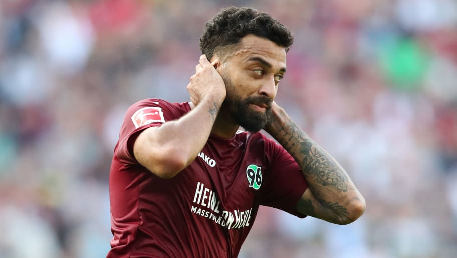 HANOVER, GERMANY - OCTOBER 06: Felipe of Hannover appears frustrated during the Bundesliga match between Hannover 96 and VfB Stuttgart at HDI-Arena on October 6, 2018 in Hanover, Germany. (Photo by Oliver Hardt/Bongarts/Getty Images)