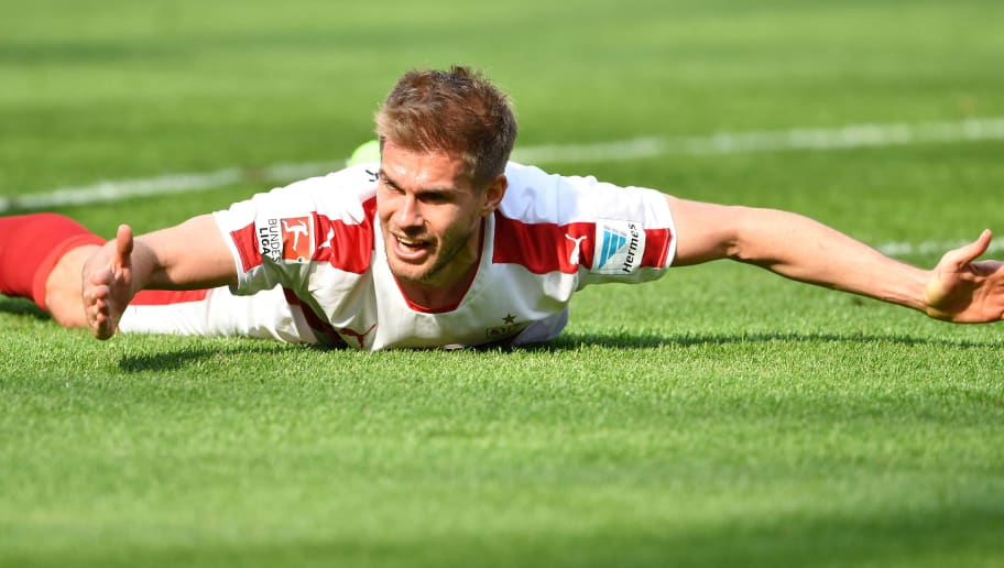 HANOVER, GERMANY - MAY 14:  Simon Terodde of Stuttgart reacts during the Second Bundesliga match between Hannover 96 and VfB Stuttgart at HDI-Arena on May 14, 2017 in Hanover, Germany.  (Photo by Stuart Franklin/Bongarts/Getty Images)