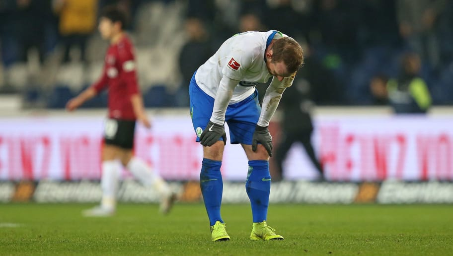 HANOVER, GERMANY - NOVEMBER 09: Maximilian Arnold of VfL Wolfsburg is disappointed after losing the Bundesliga match between Hannover 96 and VfL Wolfsburg at HDI-Arena on November 9, 2018 in Hanover, Germany. (Photo by Cathrin Mueller/Bongarts/Getty Images)