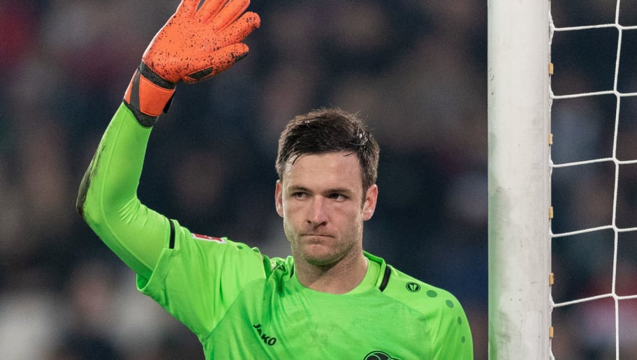 HANOVER, GERMANY - NOVEMBER 09: Goalkeeper Michael Esser of Hannover 96 gestures during the Bundesliga match between Hannover 96 and VfL Wolfsburg at HDI-Arena on November 9, 2018 in Hanover, Germany. (Photo by Boris Streubel/Getty Images)
