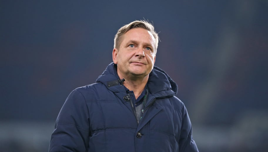HANOVER, GERMANY - NOVEMBER 09: Horst Heldt, manager of Hannover 96 looks ahead prior to the Bundesliga match between Hannover 96 and VfL Wolfsburg at HDI-Arena on November 9, 2018 in Hanover, Germany. (Photo by Cathrin Mueller/Bongarts/Getty Images)