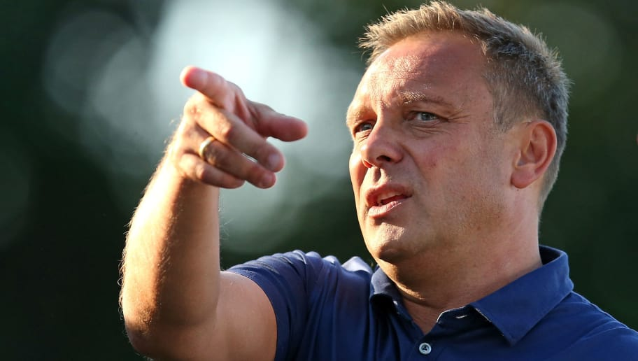 HANNOVER, GERMANY - JULY 18: Andre Breitenreiter, head coach of Hannover gestures during the pre-season friendly match between Hannover 96 and FSV Wacker 90 Nordhausen at Hannover Akademie on July 18, 2018 in Hannover, Germany. (Photo by Cathrin Mueller/Bongarts/Getty Images)