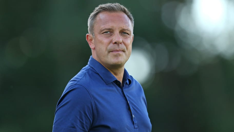 HANNOVER, GERMANY - JULY 18: Andre Breitenreiter, head coach of Hannover looks on during the pre-season friendly match between Hannover 96 and FSV Wacker 90 Nordhausen at Hannover Akademie on July 18, 2018 in Hannover, Germany. (Photo by Cathrin Mueller/Bongarts/Getty Images)