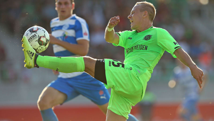 HANNOVER, GERMANY - JULY 18: Uffe Bech of Hannover in action during the pre-season friendly match between Hannover 96 and FSV Wacker 90 Nordhausen at Hannover Akademie on July 18, 2018 in Hannover, Germany. (Photo by Cathrin Mueller/Bongarts/Getty Images)