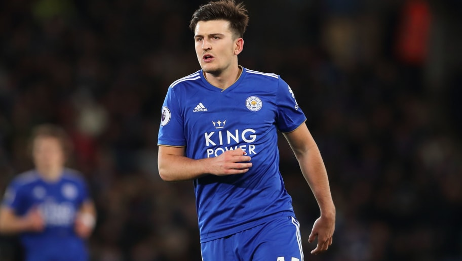 LEICESTER, ENGLAND - OCTOBER 27: Harry Maguire of Leicester City during the Premier League match between Leicester City and West Ham United at The King Power Stadium on October 27, 2018 in Leicester, United Kingdom. (Photo by James Williamson - AMA/Getty Images)