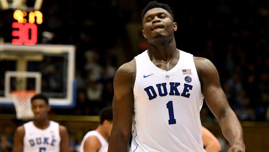 DURHAM, NC - DECEMBER 05: Zion Williamson #1 of the Duke Blue Devils looks on against the Hartford Hawks at Cameron Indoor Stadium on December 5, 2018 in Durham, North Carolina. Duke won 84-54. (Photo by Lance King/Getty Images)