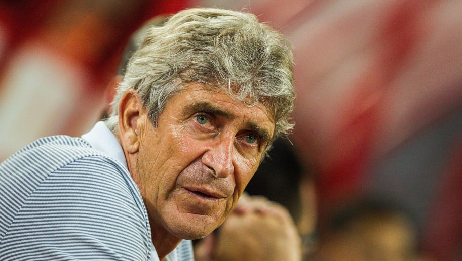 QINHUANGDAO, CHINA - AUGUST 10:  Manuel Pellegrini of Hebei China Fortune reacts piror to the China Super League match between Hebei China Fortune and Shanghai SIPG at Qinhuangdao Olympic Center Stadium on August 10, 2017 in Qinhuangdao, Hebei Province, China.  (Photo by Yifan Ding/Getty Images)