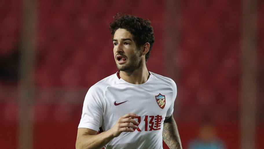 LANGFANG, CHINA - SEPTEMBER 22:  Alexandre Pato #10 of Tianjin Quanjian in action during the 2018 Chinese Super League match between Hebei China Fortune v Tianjin Quanjian at Langfang Sports Center on September 22, 2018 in Langfang, China. (Photo by Fred Lee/Getty Images)