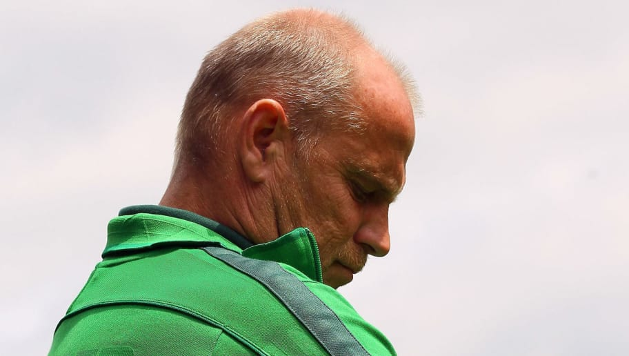 HEIDENHEIM, GERMANY - JULY 30:  Thomas Schaaf of Bremen looks on prior to the first round DFB Cup match between 1. FC Heidenheim and Werder Bremen at Voith-Arena on July 30, 2011 in Heidenheim, Germany.  (Photo by Christof Koepsel/Bongarts/Getty Images)