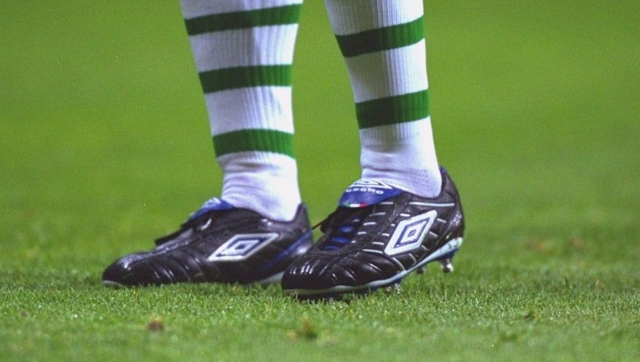 15 May 2001:  Henrik Larsson of Celtic boots during the Tom Boyd Testimonial match against Manchester United played at Celtic Park, in Glasgow, Scotland. Manchester United won the match 2-0. \ Mandatory Credit: Stu Forster /Allsport