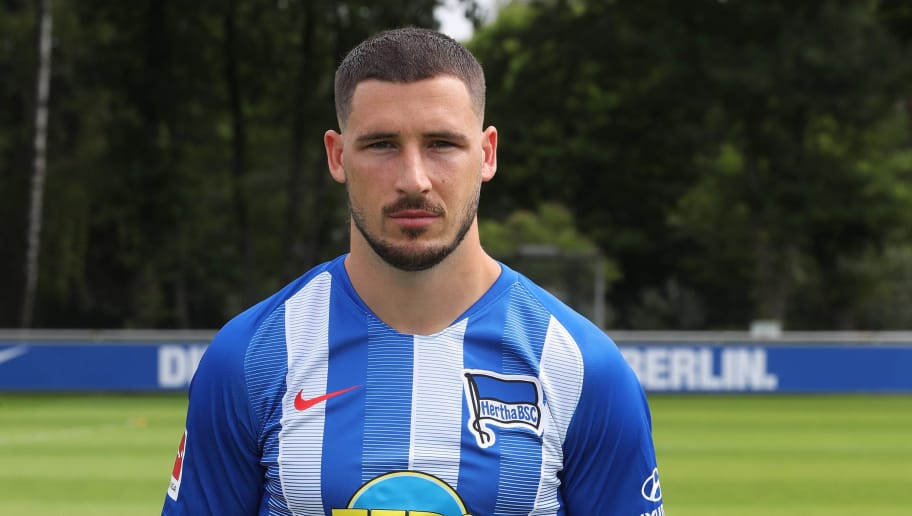 BERLIN, GERMANY - JULY 23: Mathew Leckie of Hertha BSC poses during the team presentation at Schenkendorffplatz on July 23, 2018 in Berlin, Germany. (Photo by Ottmar Winter/Bongarts/Getty Images)