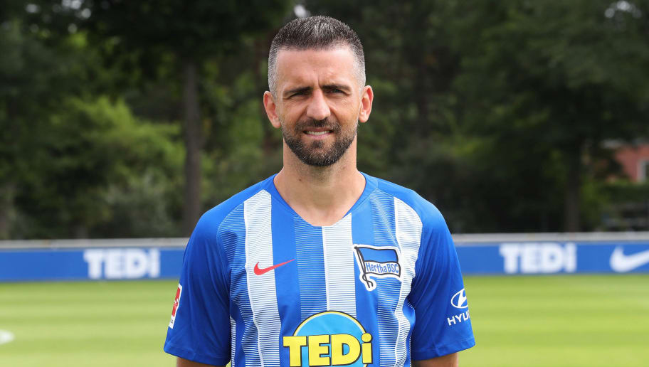 BERLIN, GERMANY - JULY 23: Vedad Ibisevic of Hertha BSC poses during the team presentation at Schenkendorffplatz on July 23, 2018 in Berlin, Germany. (Photo by Ottmar Winter/Bongarts/Getty Images)