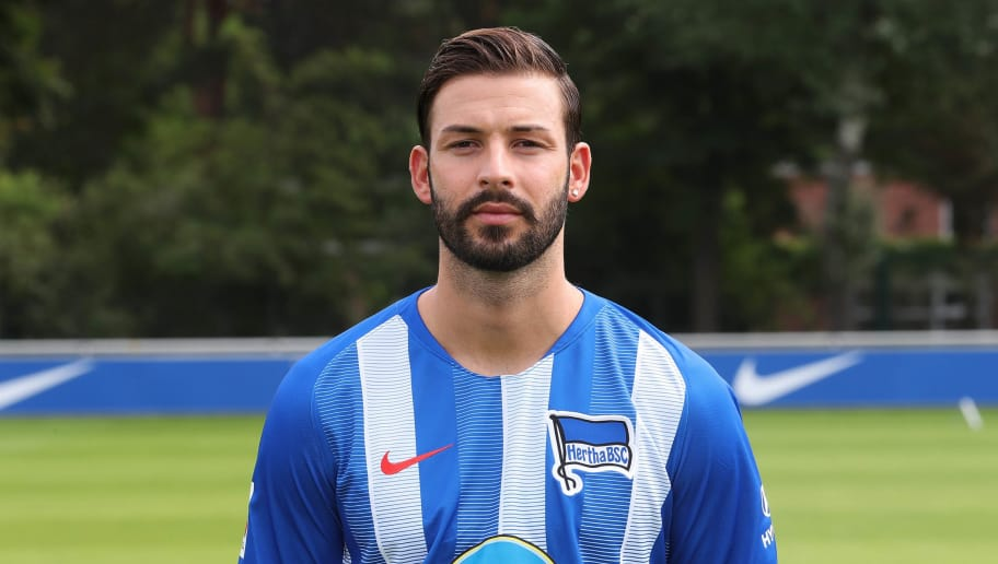 BERLIN, GERMANY - JULY 23: Marvin Plattenhardt of Hertha BSC poses during the team presentation at Schenkendorffplatz on July 23, 2018 in Berlin, Germany. (Photo by Ottmar Winter/Bongarts/Getty Images)