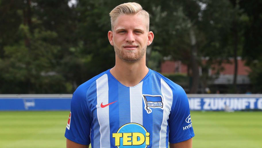 BERLIN, GERMANY - JULY 23: Arne Maier of Hertha BSC poses during the team presentation at Schenkendorffplatz on July 23, 2018 in Berlin, Germany. (Photo by Ottmar Winter/Bongarts/Getty Images)
