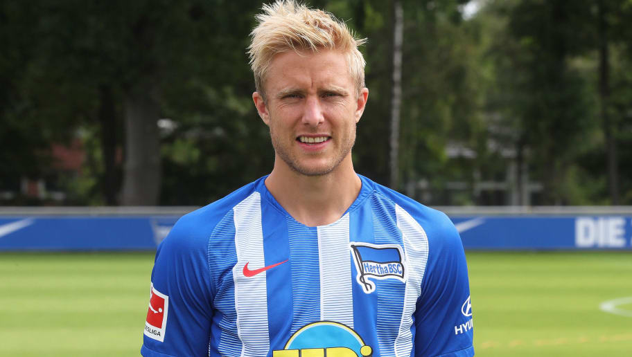 BERLIN, GERMANY - JULY 23: Per Skjelbred of Hertha BSC poses during the team presentation at Schenkendorffplatz on July 23, 2018 in Berlin, Germany. (Photo by Ottmar Winter/Bongarts/Getty Images)