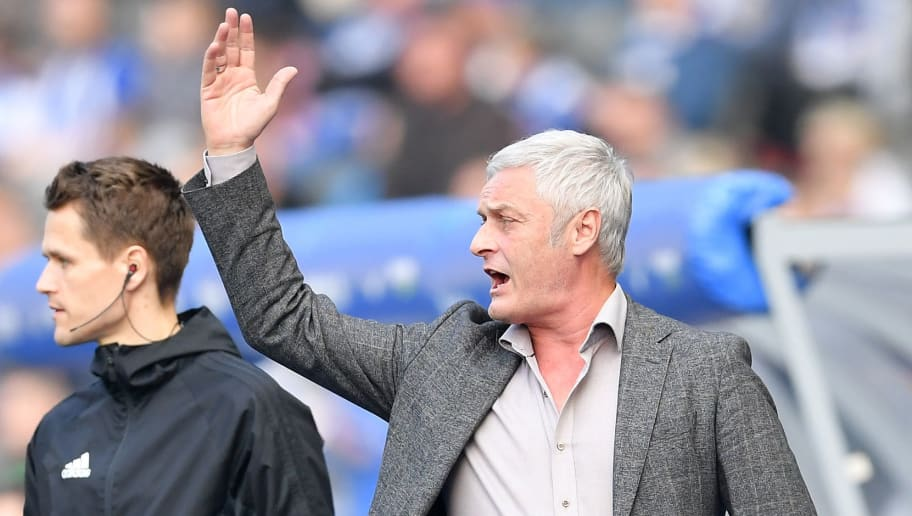 BERLIN, GERMANY - APRIL 14:  Armin Veh, chairman of Koeln, gestures  during the Bundesliga match between Hertha BSC and 1. FC Koeln at Olympiastadion on April 14, 2018 in Berlin, Germany.  (Photo by Stuart Franklin/Bongarts/Getty Images)