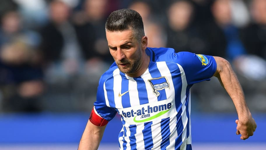 BERLIN, GERMANY - APRIL 14:  Vedad Ibisevic of Berlin in action during the Bundesliga match between Hertha BSC and 1. FC Koeln at Olympiastadion on April 14, 2018 in Berlin, Germany.  (Photo by Stuart Franklin/Bongarts/Getty Images)