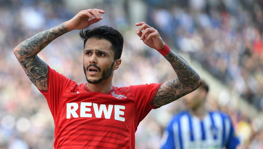 BERLIN, GERMANY - APRIL 14: Leonardo Bittencourt of Koeln looks frustrated after missing a chance during the Bundesliga match between Hertha BSC and 1. FC Koeln at Olympiastadion on April 14, 2018 in Berlin, Germany. (Photo by Stuart Franklin/Bongarts/Getty Images)