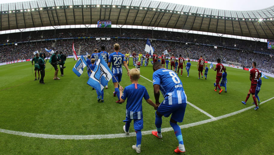 BERLIN, GERMANY - AUGUST 25:  A general view during the Bundesliga match between Hertha BSC and 1. FC Nuernberg at Olympiastadion on August 25, 2018 in Berlin, Germany.  (Photo by Matthias Kern/Bongarts/Getty Images)