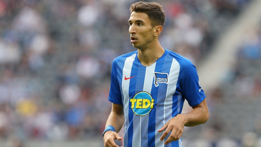 BERLIN, GERMANY - AUGUST 25:  Marko Grujic of Berlin looks on during the Bundesliga match between Hertha BSC and 1. FC Nuernberg at Olympiastadion on August 25, 2018 in Berlin, Germany. (Photo by Matthias Kern/Bongarts/Getty Images)