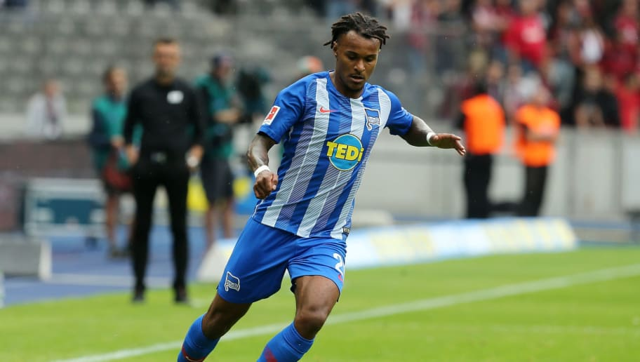 BERLIN, GERMANY - AUGUST 25:  Valentino Lazaro of Berlin runs with the ball during the Bundesliga match between Hertha BSC and 1. FC Nuernberg at Olympiastadion on August 25, 2018 in Berlin, Germany.  (Photo by Matthias Kern/Bongarts/Getty Images)