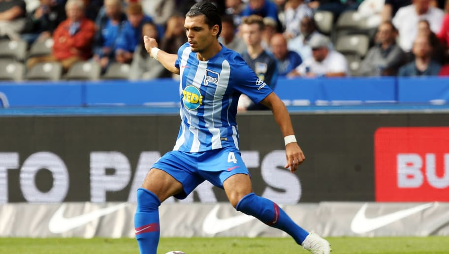 BERLIN, GERMANY - AUGUST 25:  Karim Rekik of Berlin runs with the ball during the Bundesliga match between Hertha BSC and 1. FC Nuernberg at Olympiastadion on August 25, 2018 in Berlin, Germany.  (Photo by Matthias Kern/Bongarts/Getty Images)