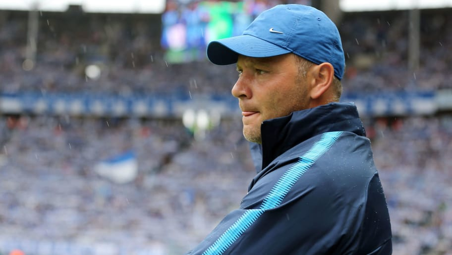 BERLIN, GERMANY - AUGUST 25:  Head coach Pal Dardai of Berlin looks on during the Bundesliga match between Hertha BSC and 1. FC Nuernberg at Olympiastadion on August 25, 2018 in Berlin, Germany. (Photo by Matthias Kern/Bongarts/Getty Images)