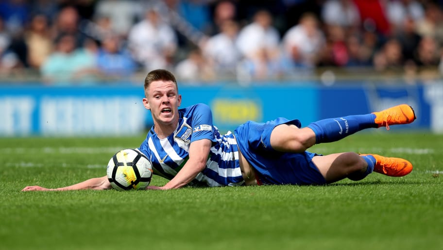 BERLIN, GERMANY - MAY 10:  Julius Kade of Hertha BSC hit the pitch after a foul during the German A Juniors Championship Semi Final Leg One match between Hertha BSC and Borussia Dortmund at Stadion am Wurfplatz on May 10, 2018 in Berlin, Germany. (Photo by Ronny Hartmann/Bongarts/Getty Images)