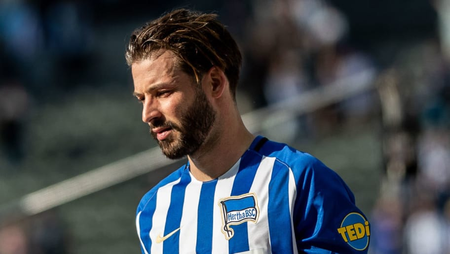 BERLIN, GERMANY - APRIL 28: Marvin Plattenhardt of Hertha BSC looks on after the Bundesliga match between Hertha BSC and FC Augsburg at Olympiastadion on April 28, 2018 in Berlin, Germany. (Photo by Boris Streubel/Bongarts/Getty Images)