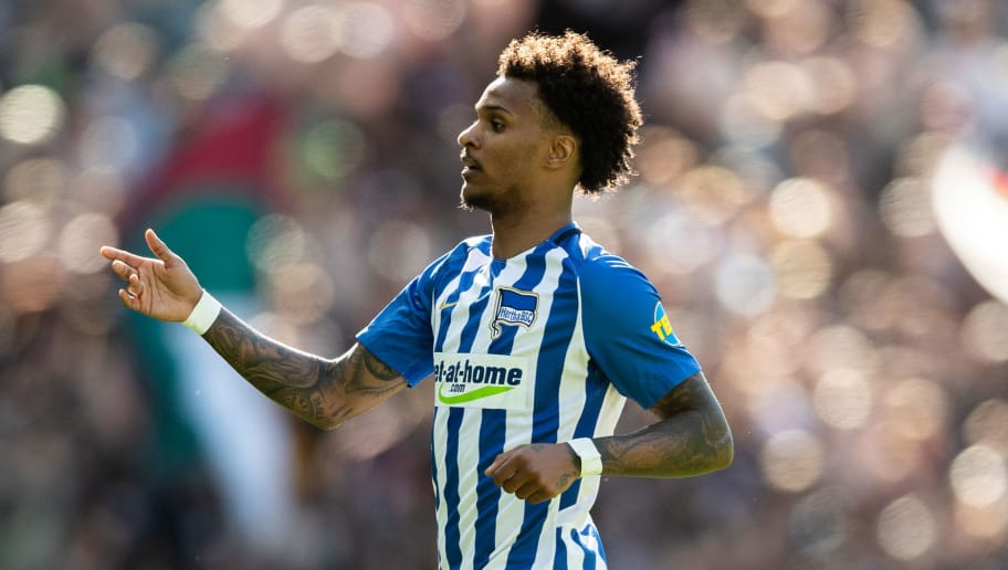 BERLIN, GERMANY - APRIL 28: Valentino Lazaro of Hertha BSC looks on during the Bundesliga match between Hertha BSC and FC Augsburg at Olympiastadion on April 28, 2018 in Berlin, Germany. (Photo by Boris Streubel/Bongarts/Getty Images)