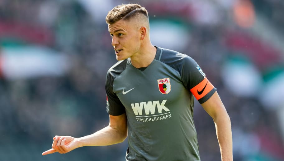 BERLIN, GERMANY - APRIL 28: Alfred Finnbogason of FC Augsburg gestures during the Bundesliga match between Hertha BSC and FC Augsburg at Olympiastadion on April 28, 2018 in Berlin, Germany. (Photo by Boris Streubel/Bongarts/Getty Images)