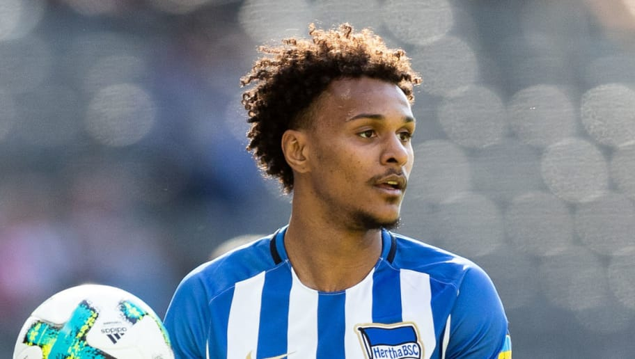 BERLIN, GERMANY - APRIL 28: Valentino Lazaro of Hertha BSC takes a throw-in during the Bundesliga match between Hertha BSC and FC Augsburg at Olympiastadion on April 28, 2018 in Berlin, Germany. (Photo by Boris Streubel/Bongarts/Getty Images)