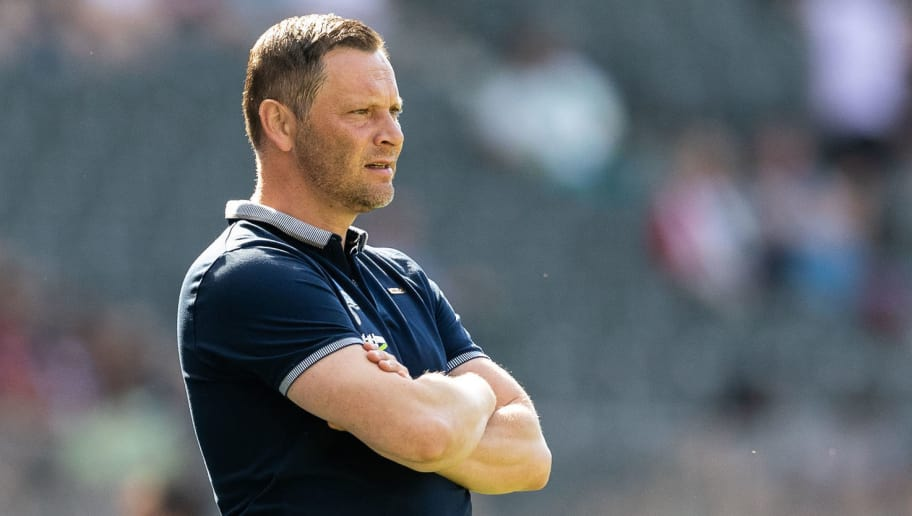 BERLIN, GERMANY - APRIL 28: Head coach Pal Dardai of Hertha BSC looks on during the Bundesliga match between Hertha BSC and FC Augsburg at Olympiastadion on April 28, 2018 in Berlin, Germany. (Photo by Boris Streubel/Bongarts/Getty Images)