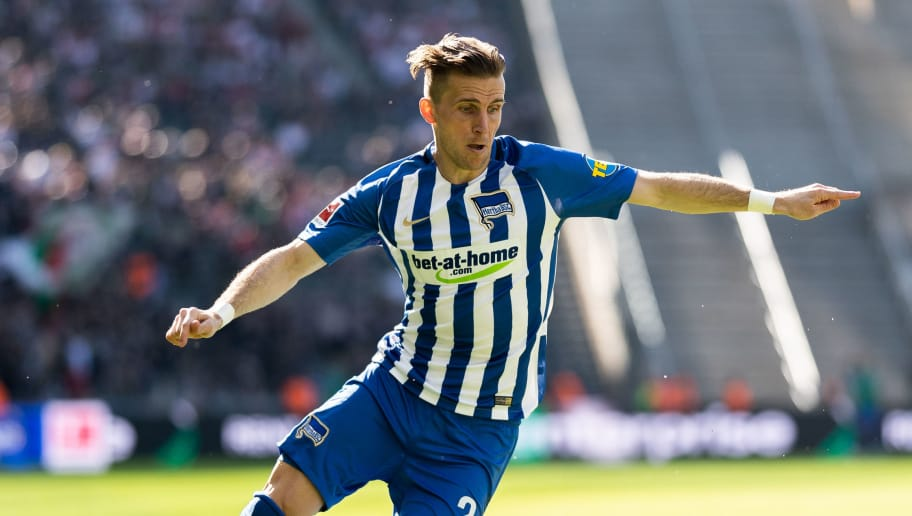 BERLIN, GERMANY - APRIL 28: Peter Pekarik of Hertha BSC runs with the ball during the Bundesliga match between Hertha BSC and FC Augsburg at Olympiastadion on April 28, 2018 in Berlin, Germany. (Photo by Boris Streubel/Bongarts/Getty Images)