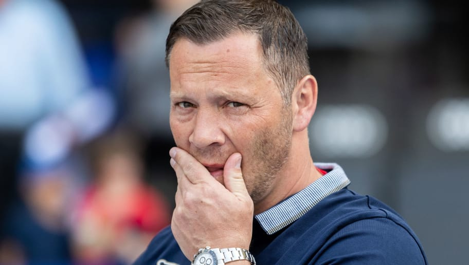 BERLIN, GERMANY - APRIL 28: Head coach Pal Dardai of Hertha BSC reacts prior to the Bundesliga match between Hertha BSC and FC Augsburg at Olympiastadion on April 28, 2018 in Berlin, Germany. (Photo by Boris Streubel/Bongarts/Getty Images)