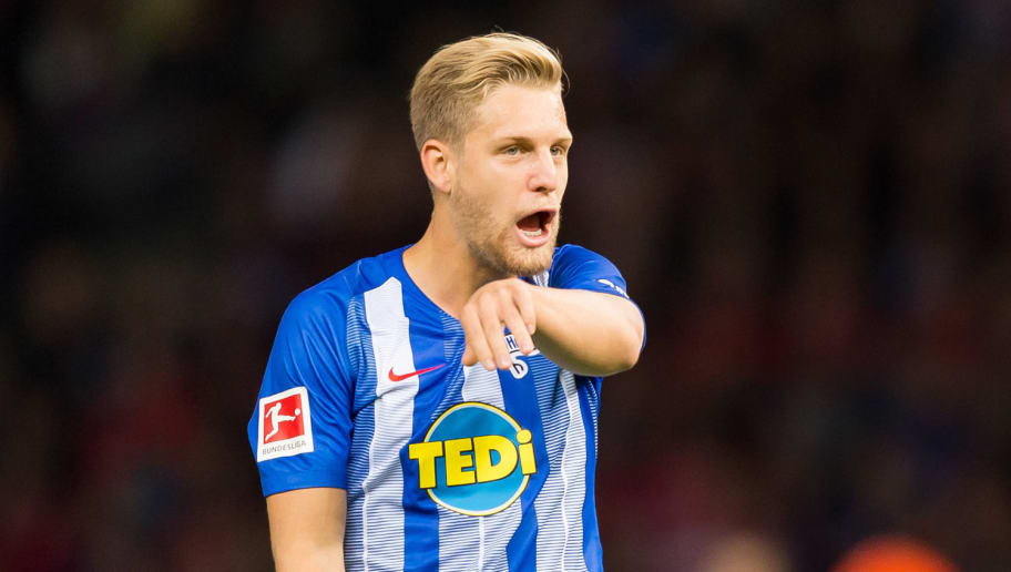 BERLIN, GERMANY - SEPTEMBER 28: Arne Maier of Hertha BSC looks on during the Bundesliga match between Hertha BSC and FC Bayern Muenchen at Olympiastadion on September 28, 2018 in Berlin, Germany. (Photo by TF-Images/Getty Images)