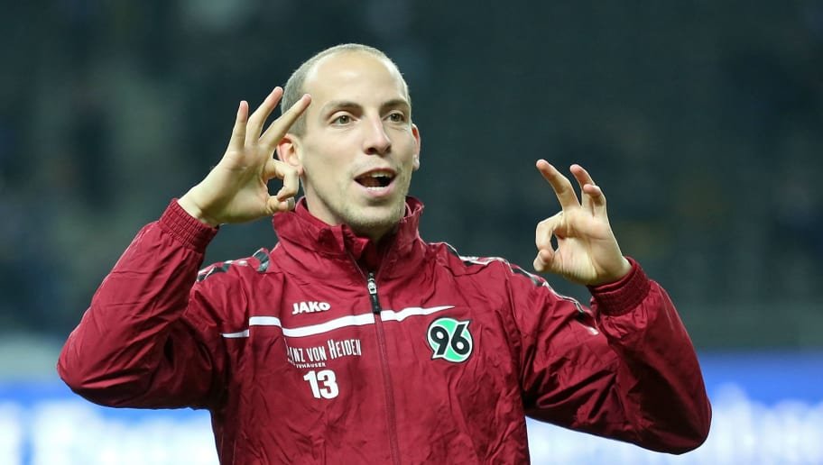 BERLIN, GERMANY - NOVEMBER 07:  Jan Schlaudraff of Hannover gestures prior to the Bundesliga match between Hertha BSC and Hannover 96 at Olympiastadion on November 7, 2014 in Berlin, Germany. (Photo by Matthias Kern/Bongarts/Getty Images)
