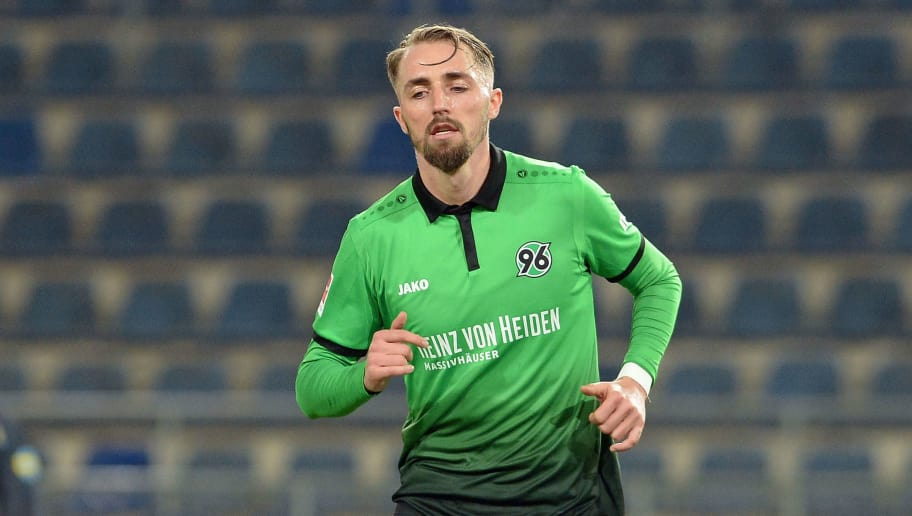 BIELEFELD, GERMANY - JANUARY 06: Florian Huebner of Hannover runs during the H-Hotels.com Wintercup match between Hertha BSC and Hannover 96 at SchuecoArena on January 6, 2018 in Bielefeld, Germany. (Photo by TF-Images/TF-Images via Getty Images)