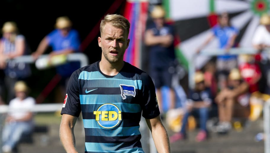 HERNE, GERMANY - JULY 08: Pascal Koepke of Hertha BSC looks on during the TEDi-Cup match between Hertha BSC and MSV Duisburg on July 8, 2018 in Herne, Germany. (Photo by TF-Images/Getty Images)