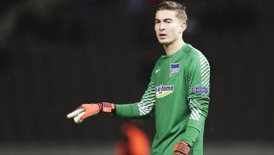 BERLIN, GERMANY - DECEMBER 07: Jonathan Klinsmann, goalkeeper of Hertha Berlin SC during the UEFA Europa League group J match between Hertha BSC and Ostersunds FK at the Olympic Stadium on December 7, 2017 in Berlin, Germany. (Photo by Nils Petter Nilsson/Getty Images)