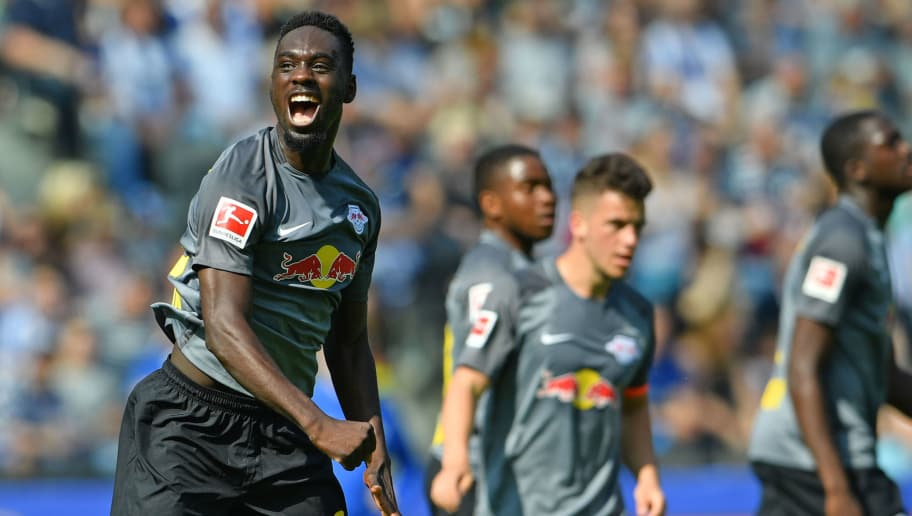 BERLIN, GERMANY - MAY 12: Jean - Kevin Augustin of Leipzig celebrates his teams third goal during the Bundesliga match between Hertha BSC and RB Leipzig at Olympiastadion on May 12, 2018 in Berlin, Germany. (Photo by Thomas Starke/Bongarts/Getty Images)
