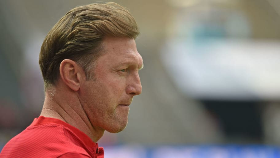 BERLIN, GERMANY - MAY 12: Head coach Ralph Hasenhuettl of Leipzig look on prior to the Bundesliga match between Hertha BSC and RB Leipzig at Olympiastadion on May 12, 2018 in Berlin, Germany. (Photo by Thomas Starke/Bongarts/Getty Images)
