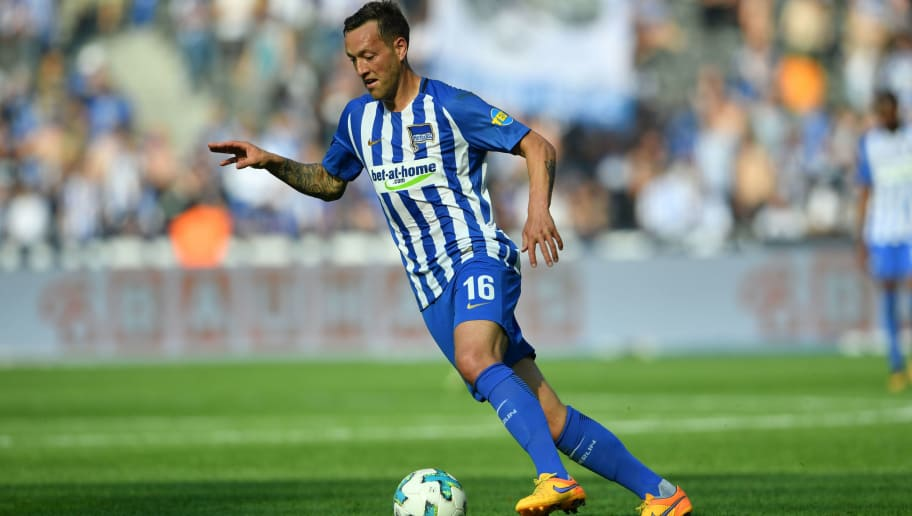 BERLIN, GERMANY - MAY 12: Julian Schieber of Berlin runs with the ball during the Bundesliga match between Hertha BSC and RB Leipzig at Olympiastadion on May 12, 2018 in Berlin, Germany. (Photo by Thomas Starke/Bongarts/Getty Images)