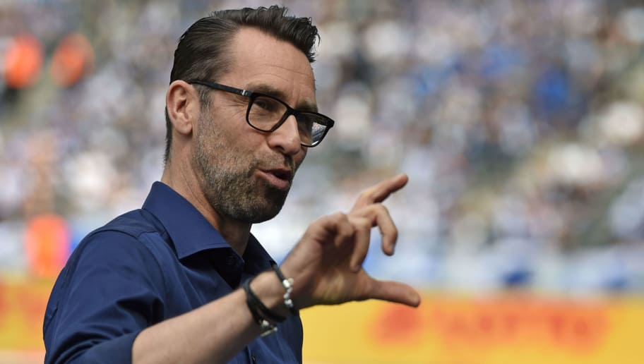 BERLIN, GERMANY - MAY 12: Manager Michael Preetz of Berlin reacts prior to the Bundesliga match between Hertha BSC and RB Leipzig at Olympiastadion on May 12, 2018 in Berlin, Germany. (Photo by Thomas Starke/Bongarts/Getty Images)