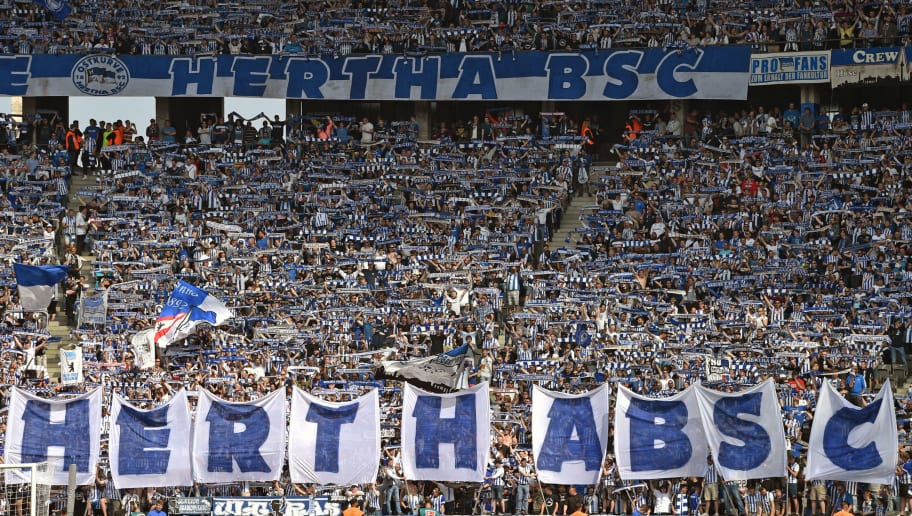 BERLIN, GERMANY - MAY 12: Supporters of Berlin show a choreography during the Bundesliga match between Hertha BSC and RB Leipzig at Olympiastadion on May 12, 2018 in Berlin, Germany. (Photo by Thomas Starke/Bongarts/Getty Images)