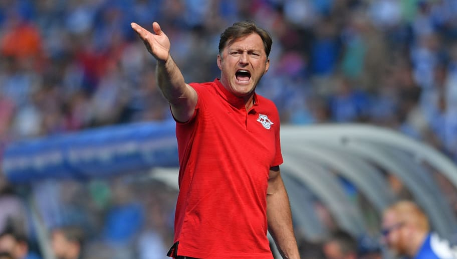 BERLIN, GERMANY - MAY 12: Head coach Ralph Hasenhuettl of Leipzig reacts during the Bundesliga match between Hertha BSC and RB Leipzig at Olympiastadion on May 12, 2018 in Berlin, Germany. (Photo by Thomas Starke/Bongarts/Getty Images)