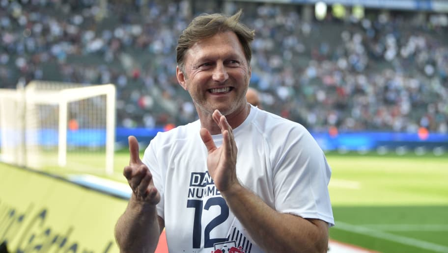 BERLIN, GERMANY - MAY 12: Head coach Ralph Hasenhuettl of Leipzig celebrates after the Bundesliga match between Hertha BSC and RB Leipzig at Olympiastadion on May 12, 2018 in Berlin, Germany. (Photo by Thomas Starke/Bongarts/Getty Images)