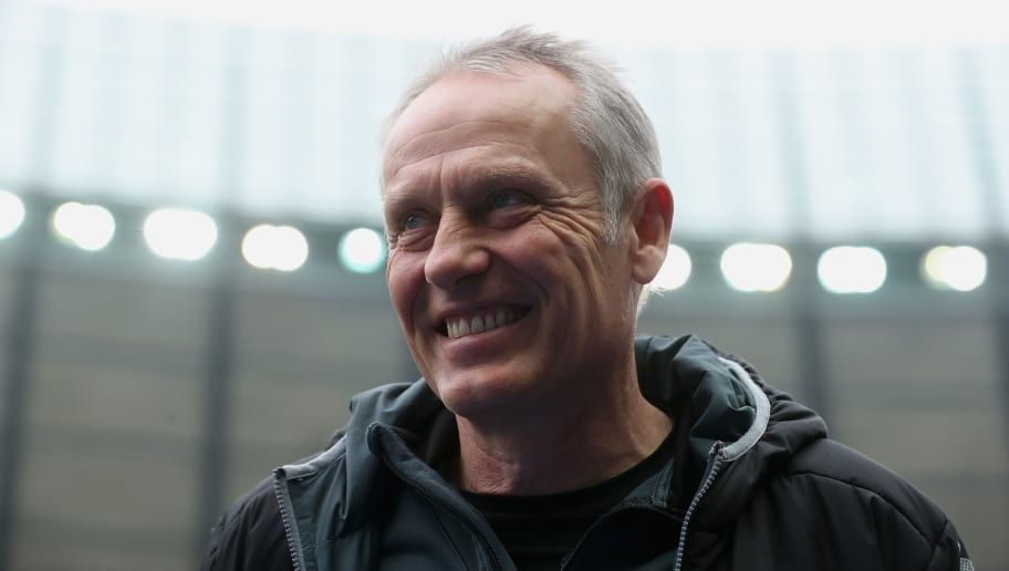 BERLIN, GERMANY - MARCH 10:  Head coach Christian Streich of SC Freiburg looks on prior to the Bundesliga match between Hertha BSC and Sport-Club Freiburg at Olympiastadion on March 10, 2018 in Berlin, Germany.  (Photo by Boris Streubel/Bongarts/Getty Images)