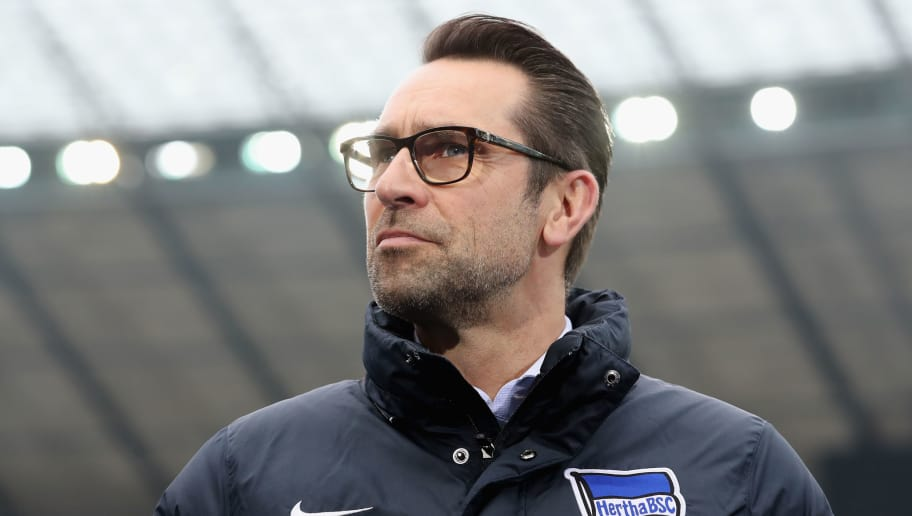 BERLIN, GERMANY - MARCH 10:  CEO Michael Preetz of Hertha BSC looks on prior to the Bundesliga match between Hertha BSC and Sport-Club Freiburg at Olympiastadion on March 10, 2018 in Berlin, Germany.  (Photo by Boris Streubel/Bongarts/Getty Images)