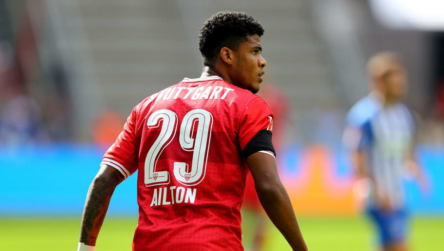 BERLIN, GERMANY - AUGUST 19:  Ailton of Stuttgart looks on during the Bundesliga match between Hertha BSC and VfB Stuttgart at Olympiastadion on August 19, 2017 in Berlin, Germany.  (Photo by Martin Rose/Bongarts/Getty Images)